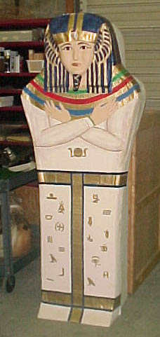 egyptian props sarcophagus white case blue red gold