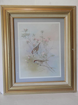 Brown Birds Painting Art Framed Flowers Nature