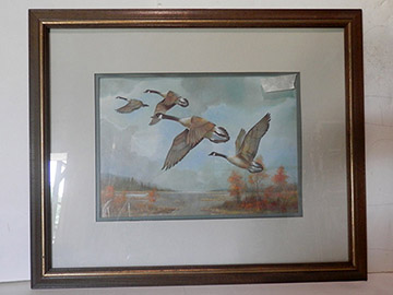 Geese Flying Painting Framed Art Nature