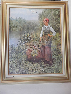 Woman Nature Painting Art Framed