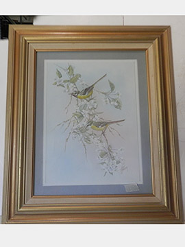 Yellow Birds Painting Art Framed Flowers Nature